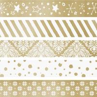 Dekorativní washi páska samolepicí, sada mini zlatá 1,2cmx3m (5ks)