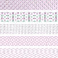 Dekorativní washi páska samolepicí, sada mini zelená-růžová 1,2cmx3m (5ks)